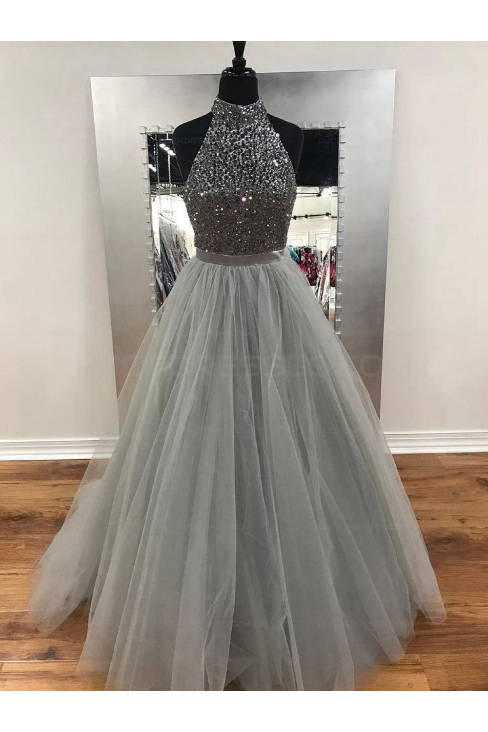 Beaded Tulle Ball Gown Halter Long Prom Evening Formal