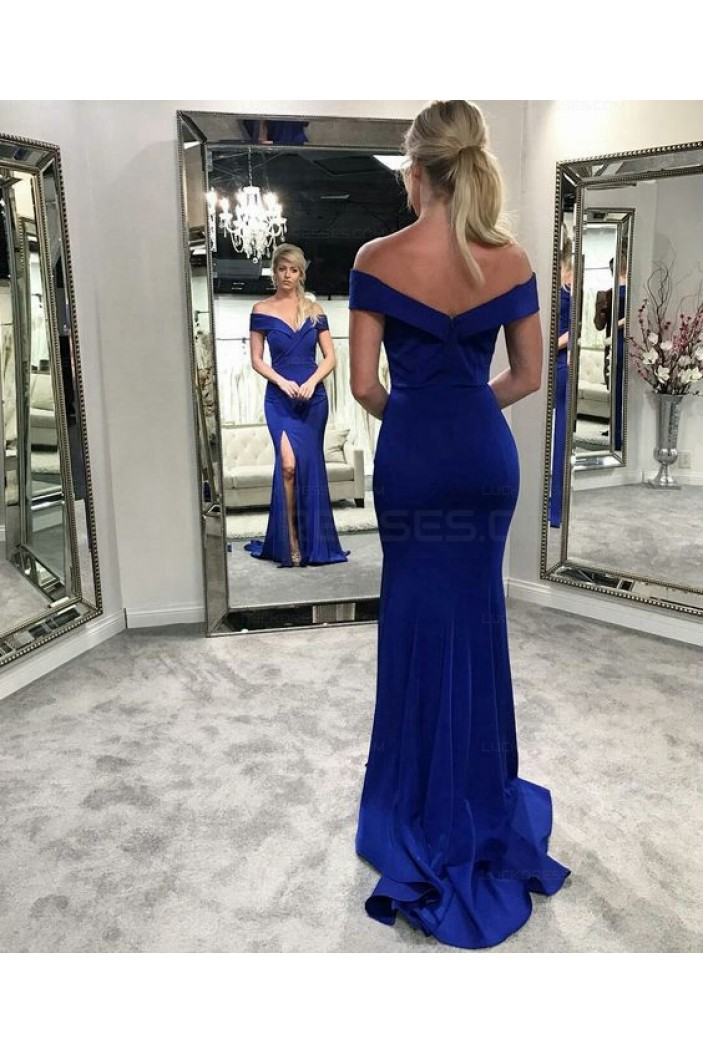 Mermaid Off-the-Shoulder Long Prom Evening Party Dresses 3021584