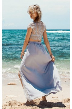 Two Pieces Lace See Through Top Chiffon Prom Evening Formal Dresses 3020165