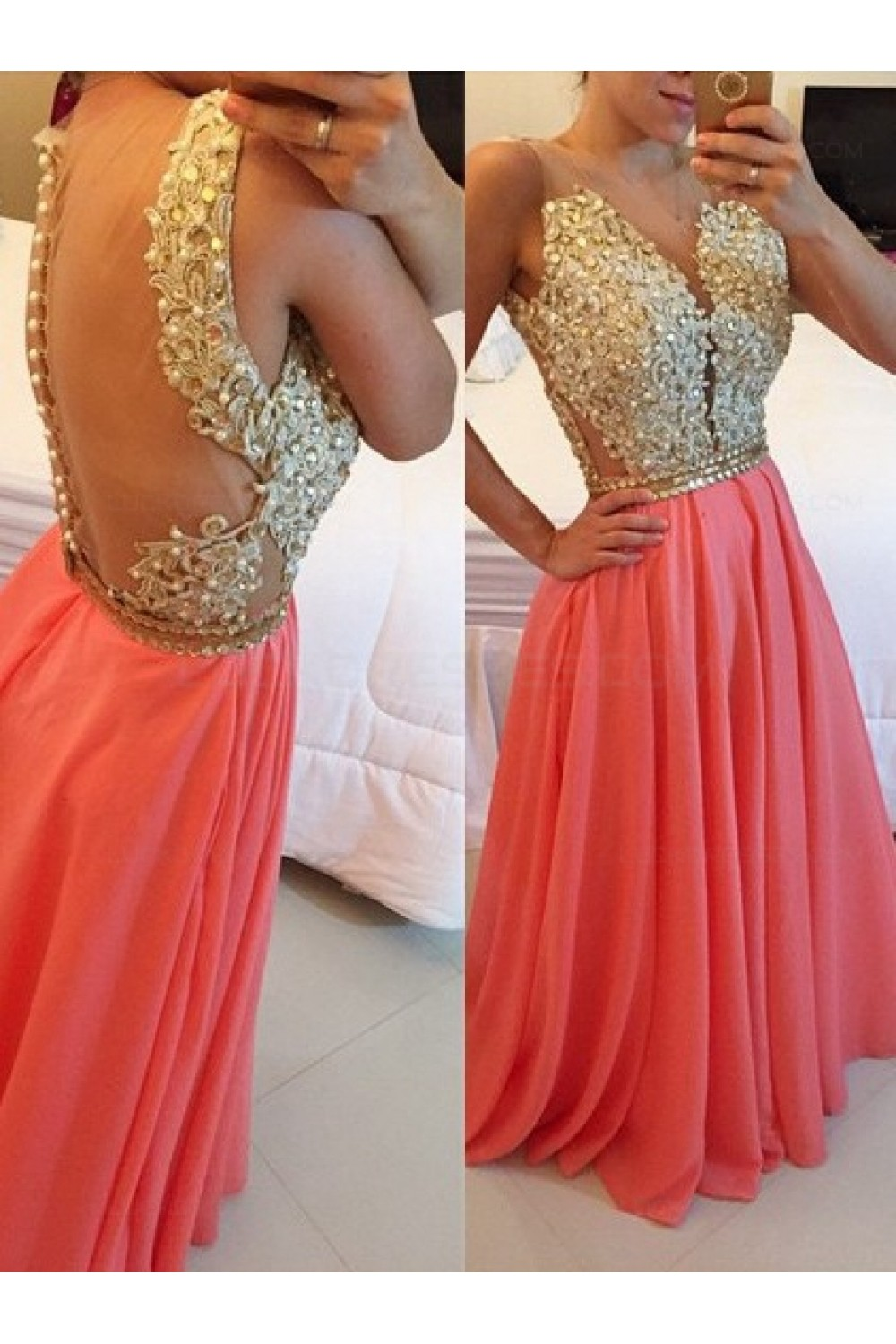 29268273a40e Gold Coral Long See Through Prom Evening Formal Dresses 3020167