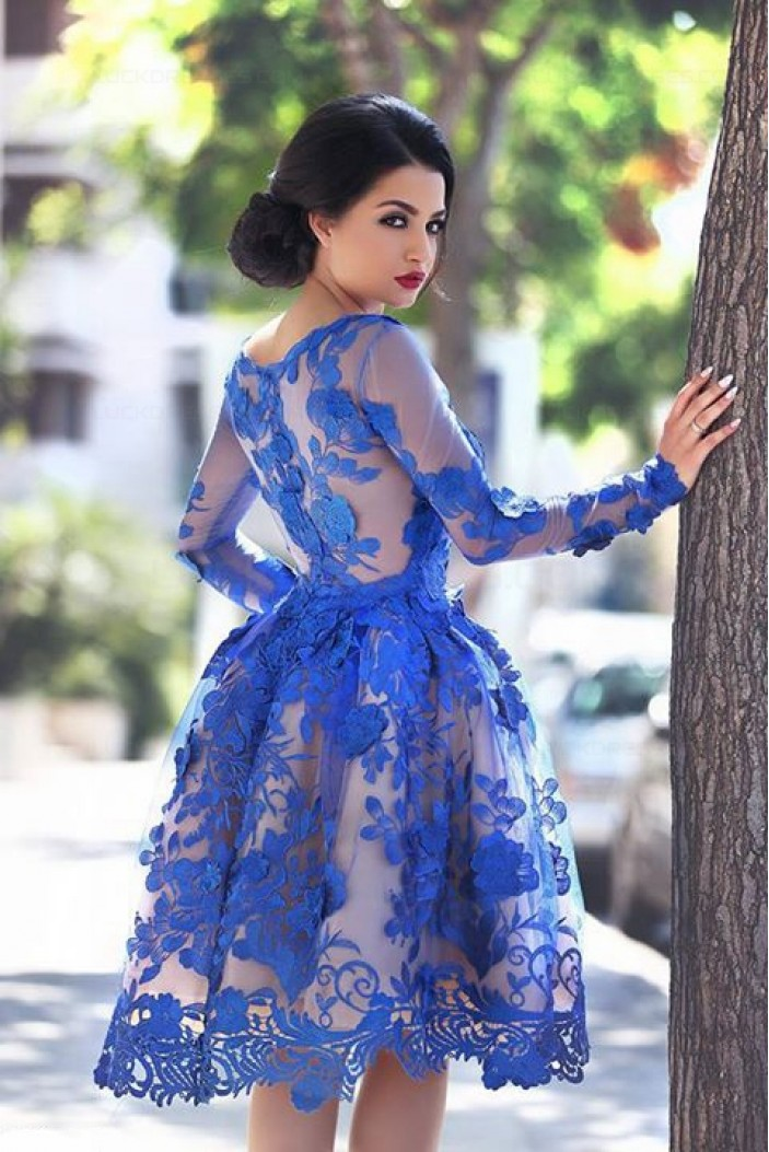 Blue Short Knee-Length Homecoming Prom Evening Formal Dresses 3020171