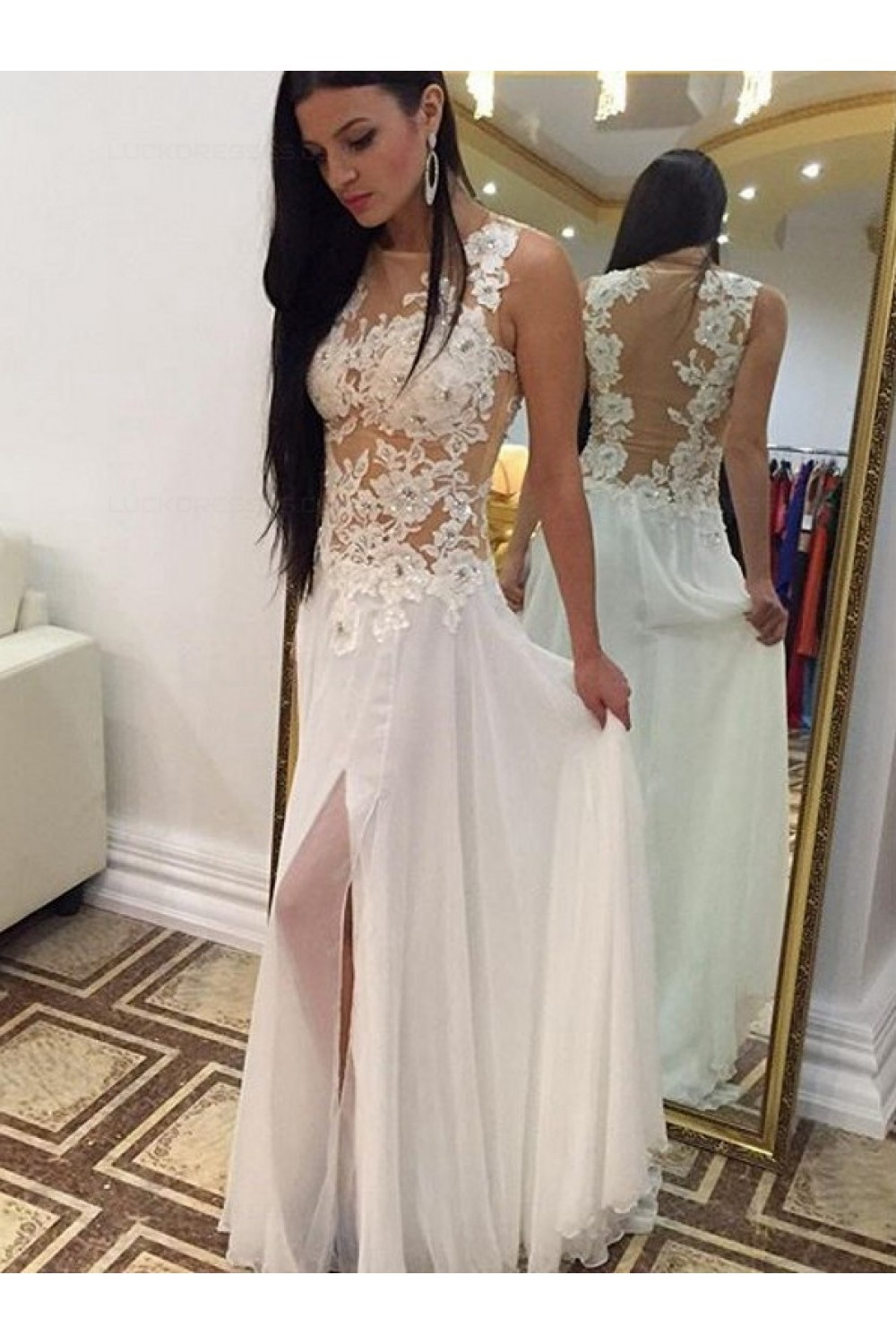 Long White Lace Appliques Long Prom Evening Formal Dresses 3020173