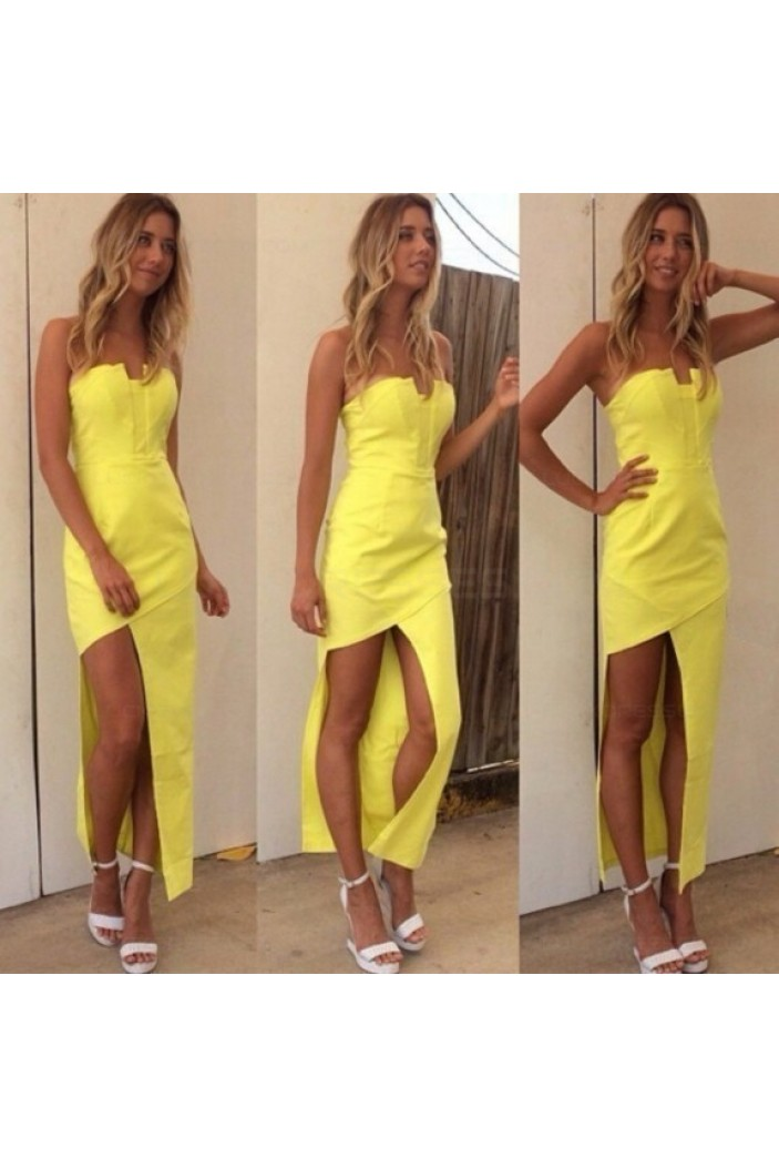 Strapless Yellow Prom Evening Formal Dresses 3020189