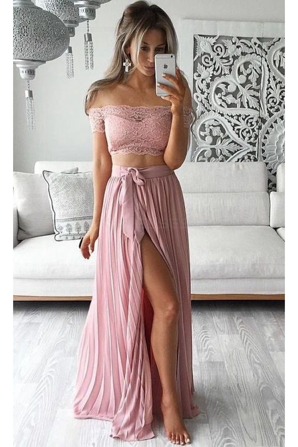 Two Piece Prom Dresses Lace Top Off-the-Shoulder Short Sleeves Thigh ...