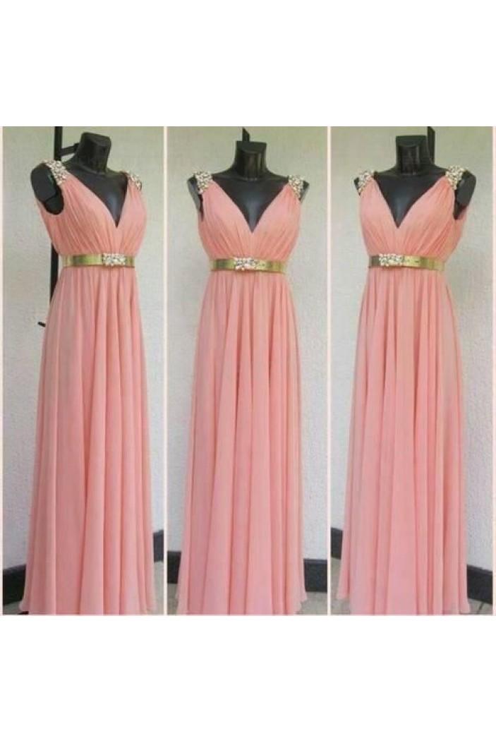 Column V-Neck Beaded Long Chiffon Prom Dresses Evening Gowns 3020194