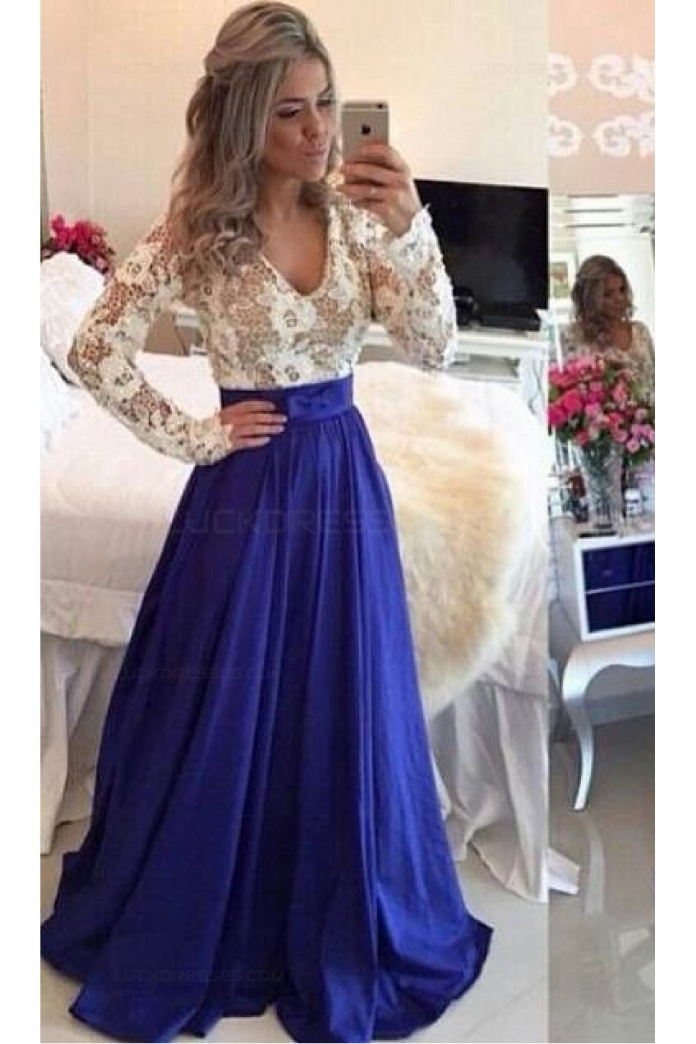 Royal Blue White Long Sleeves Prom Dresses Evening Gowns