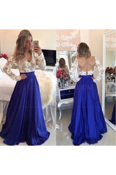 Royal Blue White Long Sleeves Prom Dresses Evening Gowns 3020203