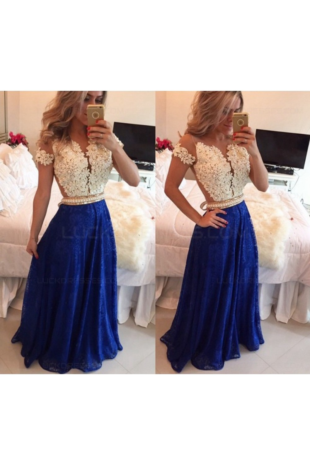 A-Line Short Sleeves Lace Chiffon Royal Blue White Long Prom Dresses  Evening Gowns 3020206 eaf5fd1ae