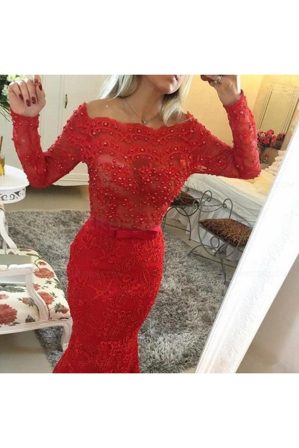 453deeb634 Red Long Sleeves Lace Mermaid Prom Dresses Evening Gowns 3020207