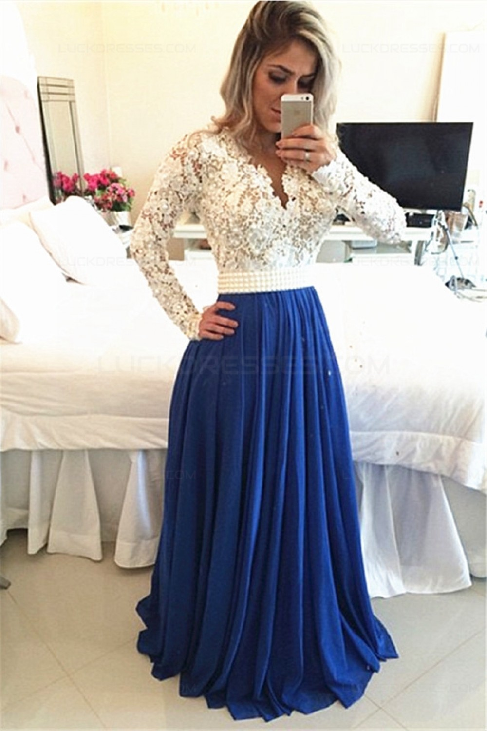 913c831d38 Royal Blue White Lace Chiffon Long Sleeves Prom Dresses Evening Gowns  3020208