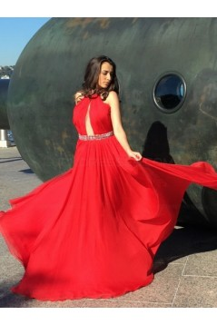 Beaded Red Long Chiffon Prom Dresses Evening Gowns 3020212