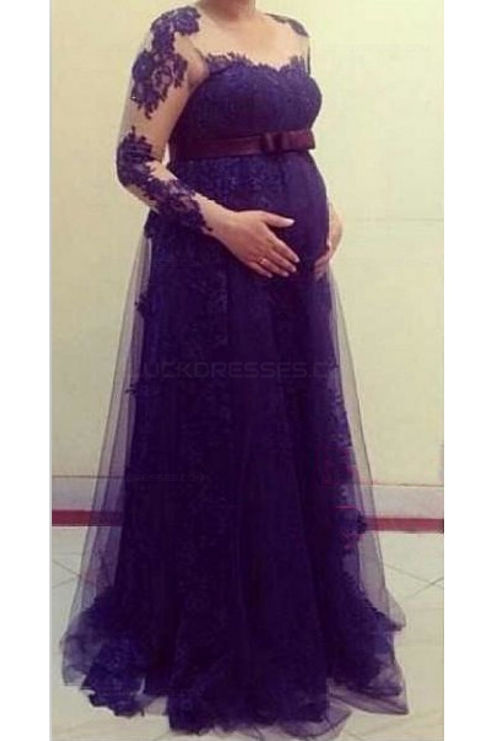 Long Sleeves Purple Lace Maternity Dresses Evening Gowns