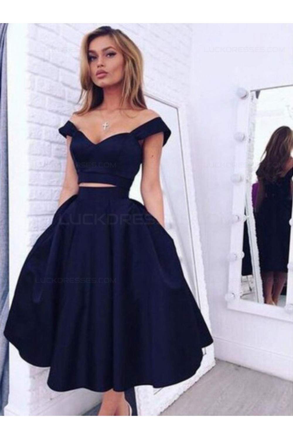 Two Pieces Off The Shoulder Navy Blue Bridesmaid Prom