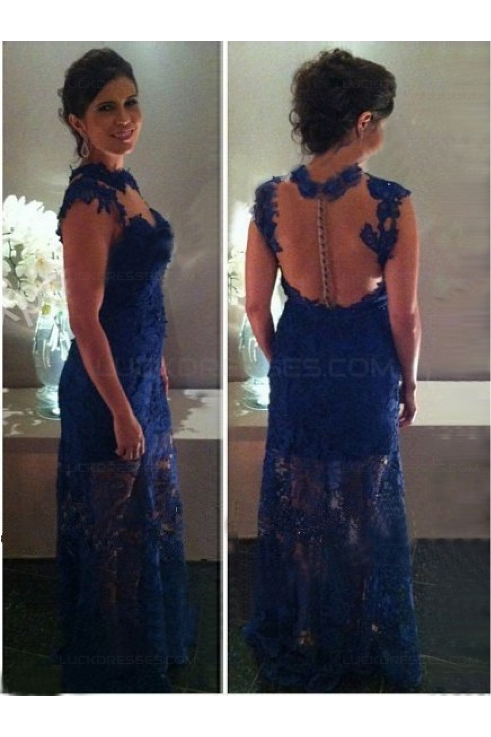 Long Blue Lace See Through Prom Dresses Evening Gowns 3020228