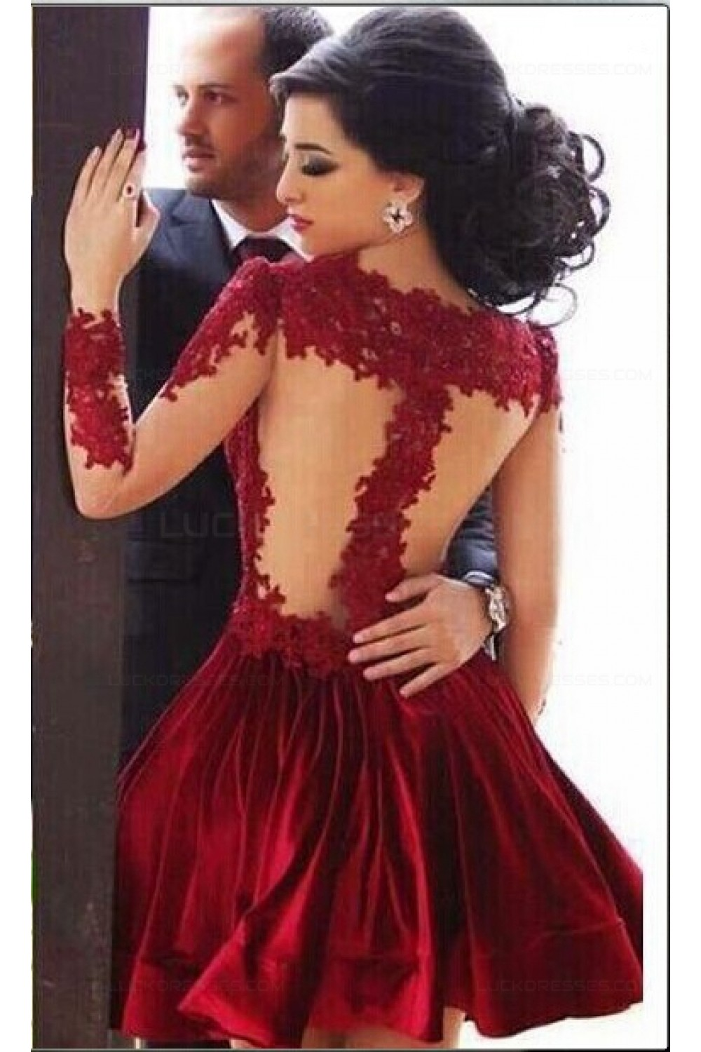 e7052525f00 Short Red Homecoming Dresses High Neck Long Sleeves Sheer Lace Appliques  Satin Knee Length Party Evening ...
