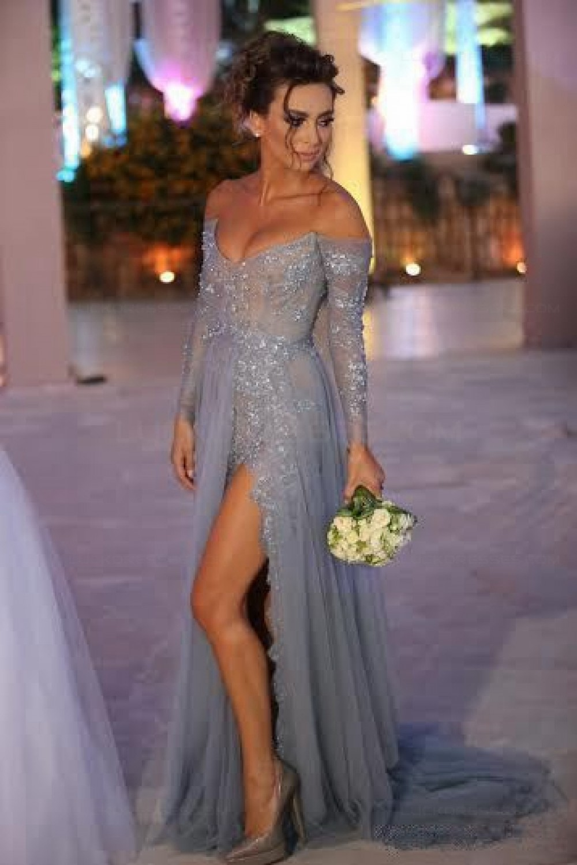 Grey Lace Long Sleeves Off-the-Shoulder Split Long Prom Dresses ...