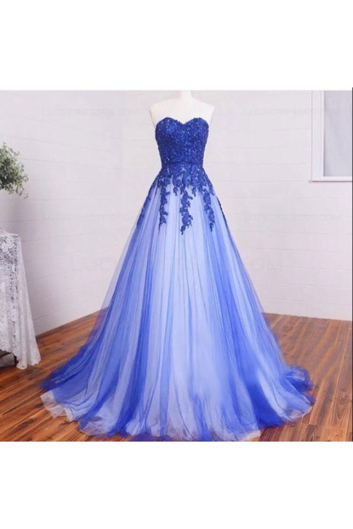 A Line Sweetheart Lace Appliques Long Blue White Prom