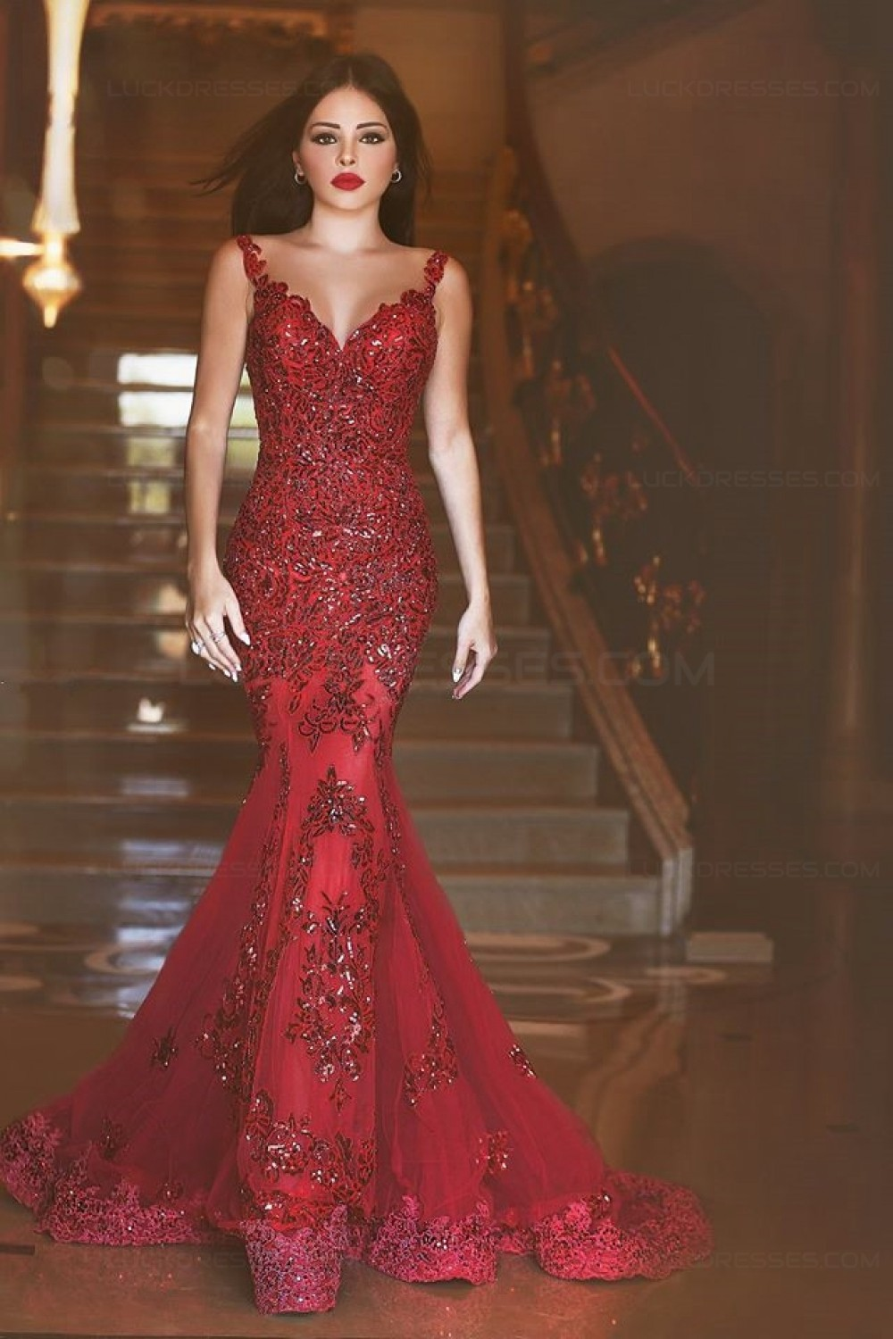 Mermaid Long Red Lace Prom Dresses Party Evening Gowns 3020242