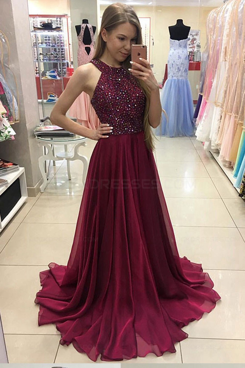 aa5ede5f5a6 A-Line Burgundy Beaded Chiffon Prom Dresses Party Evening Gowns ...