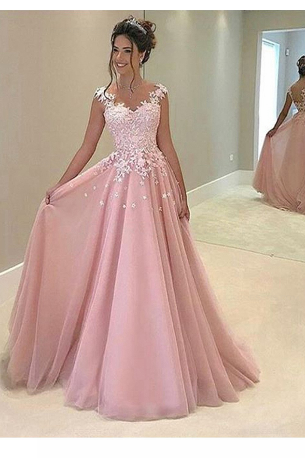 A-Line Long Pink Lace Prom Dresses Party Evening Gowns 3020248