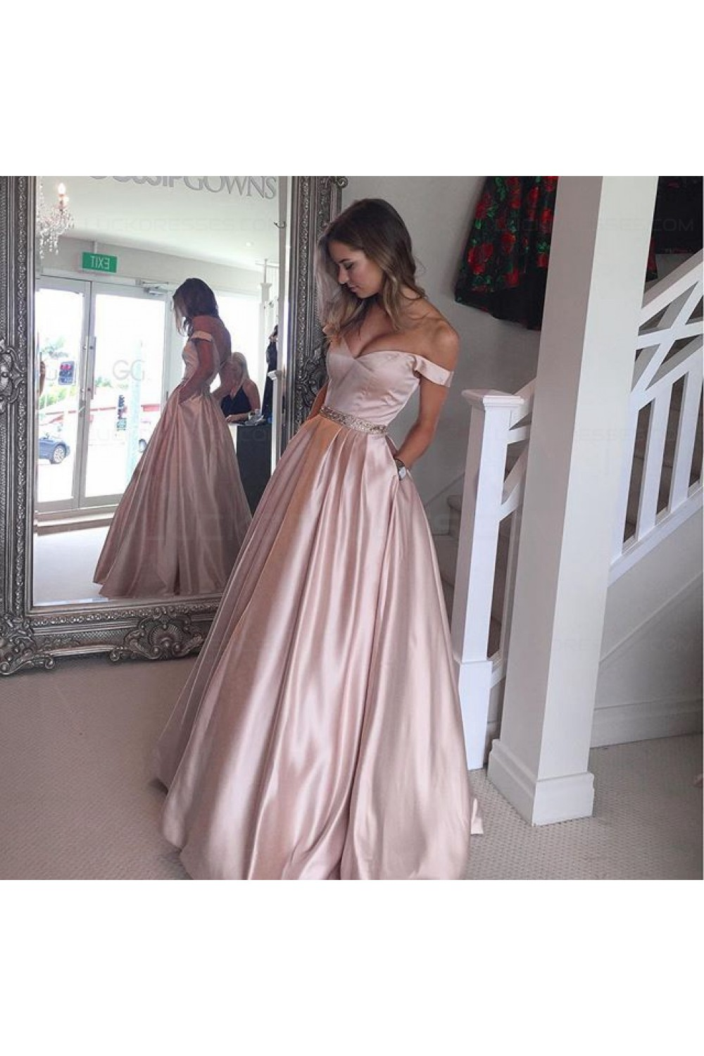 Ball Gown Off-the-Shoulder Beaded Prom Dresses Party Evening Gowns ...