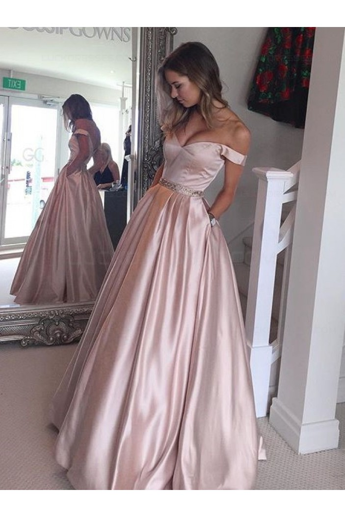 Ball Gown Off The Shoulder Beaded Prom Dresses Party