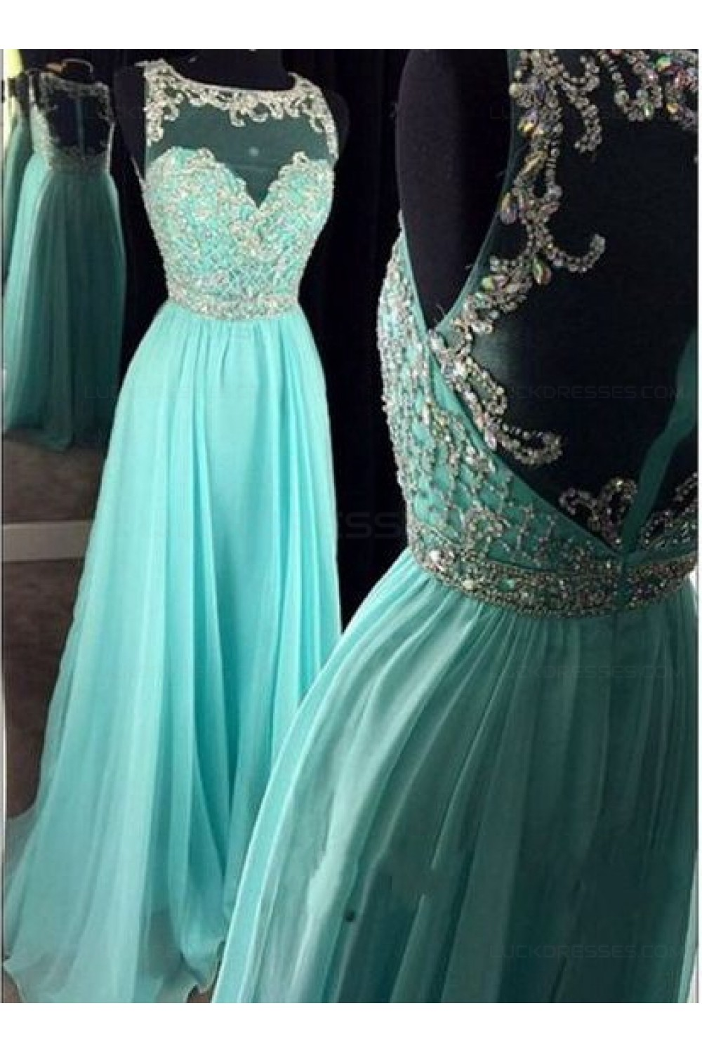 Beaded Illusion Neckline Long Blue Prom Dresses Party Evening Gowns ...
