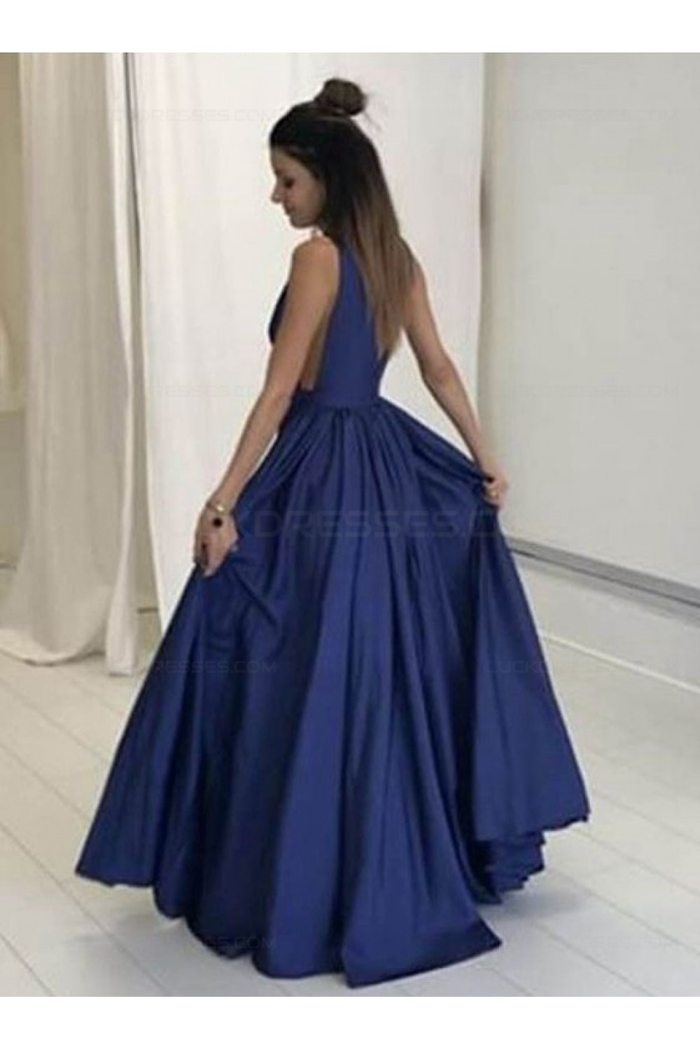 Blue Low V-Neck Prom Dresses Party Evening Gowns 3020274