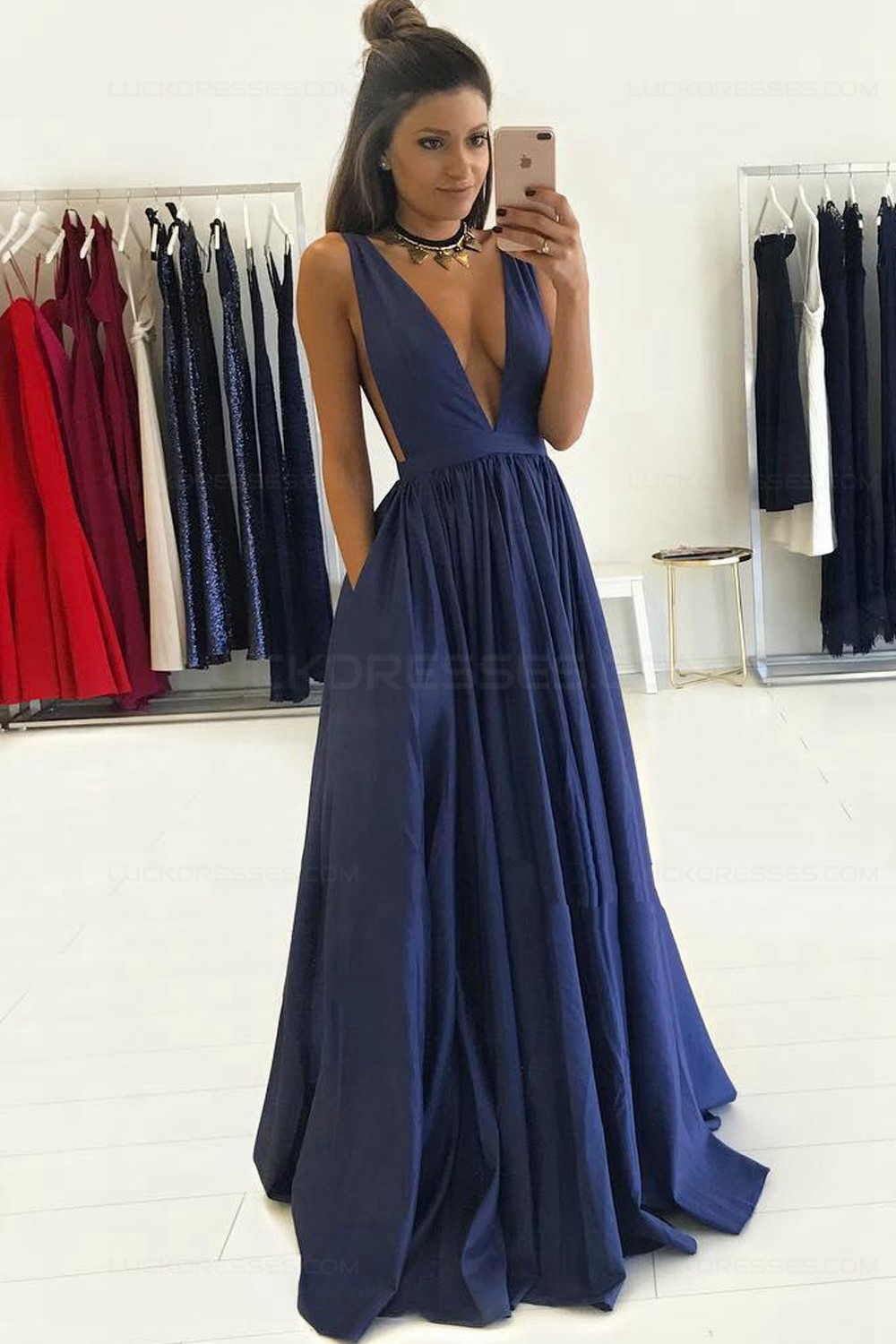 Long V Neck Dress