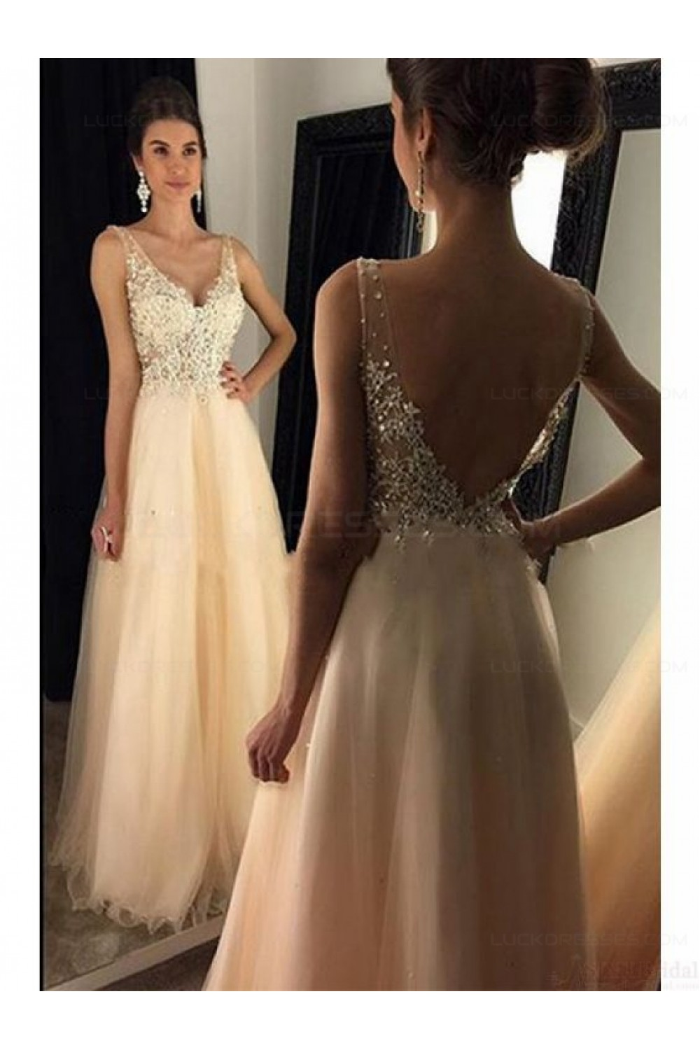 A Line V Neck Lace Tulle Long Prom Dresses Party Evening