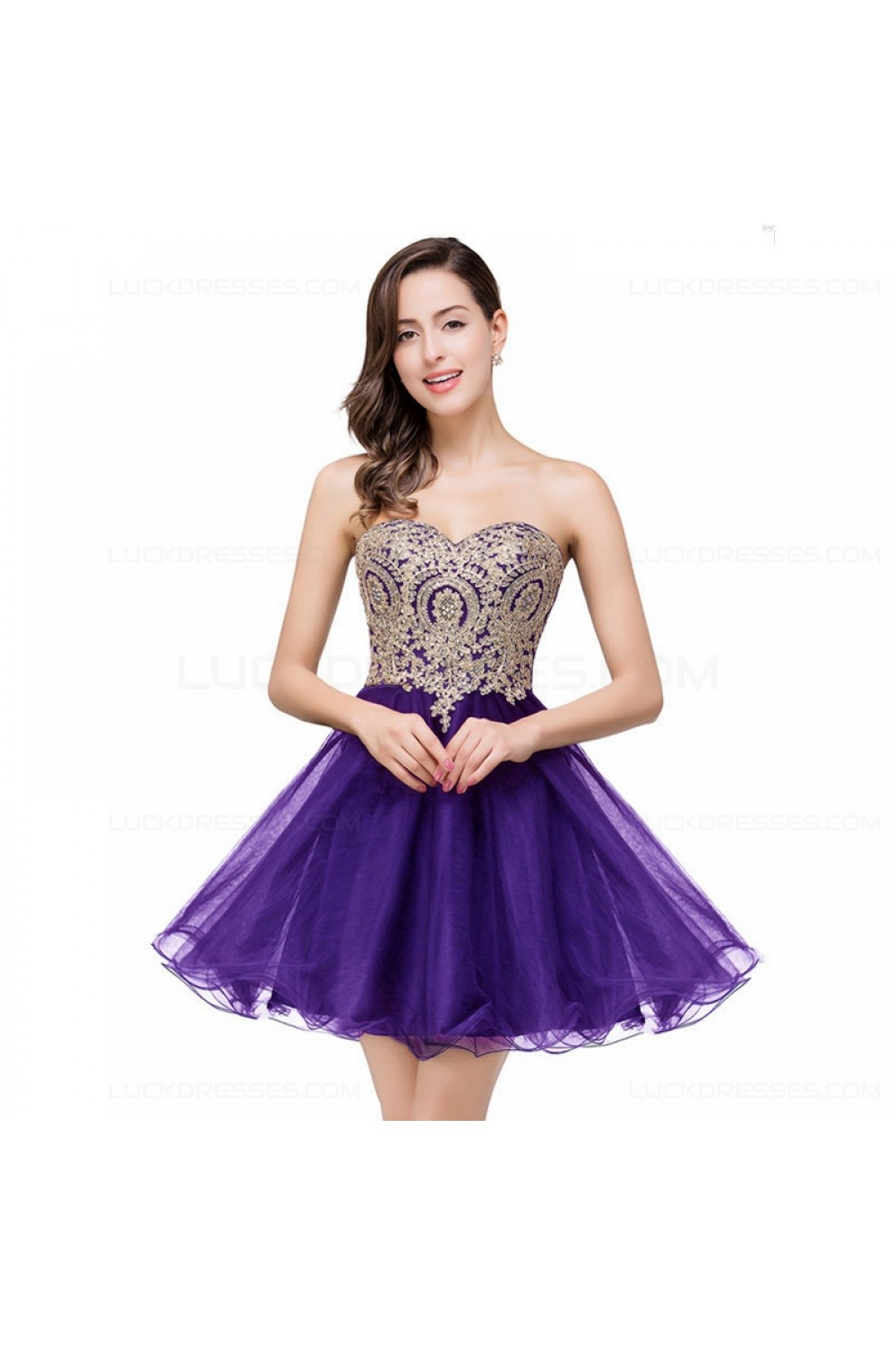 A-Line Sweetheart Gold Lace Appliques Short Prom Dresses Party ...