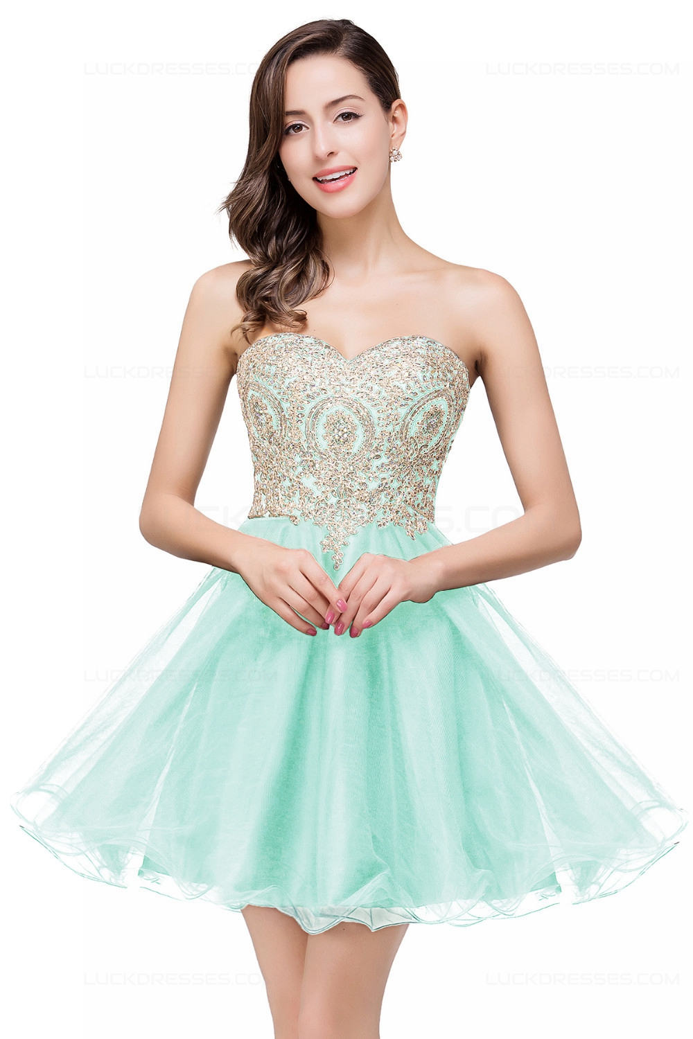 A-Line Sweetheart Gold Lace Appliques Short Prom Dresses ...