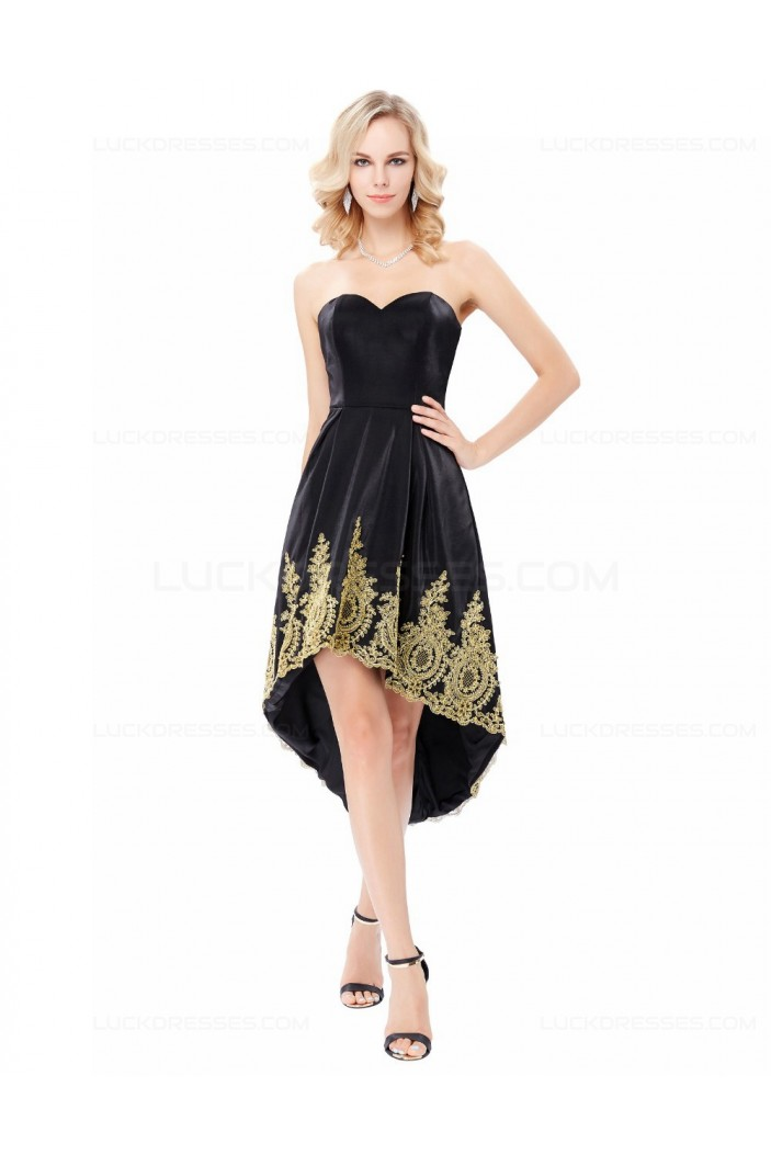 High Low Sweetheart Short Black Gold Lace Appliques Prom