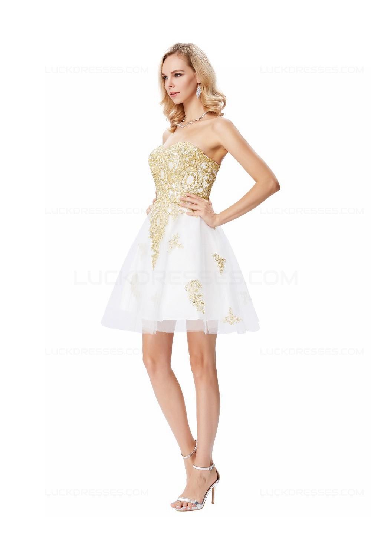 short white gold lace appliques prom dresses party evening