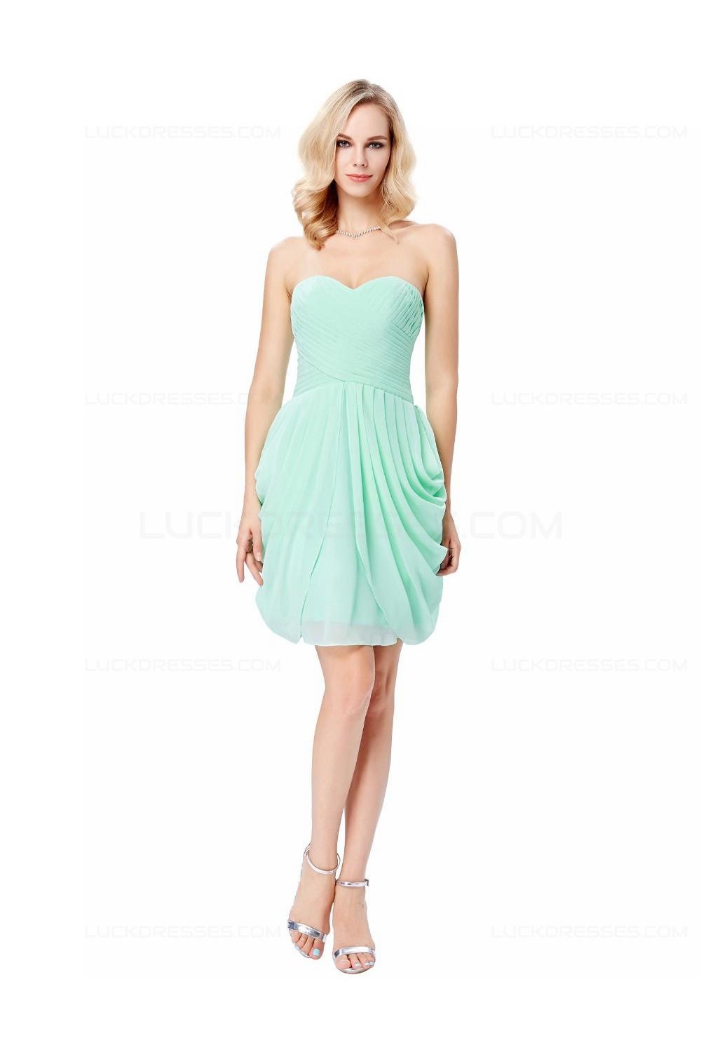 Short Mint Green Chiffon Prom Dresses Party Evening Gowns