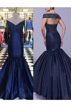 Mermaid Off-the-Shoulder V-Neck Long Blue Prom Dresses Party Evening Gowns 3020304