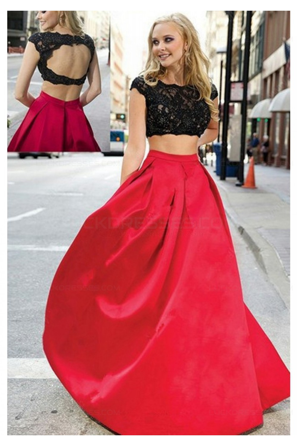 Two Pieces Black Lace Red Prom Dresses Party Evening Gowns 3020305