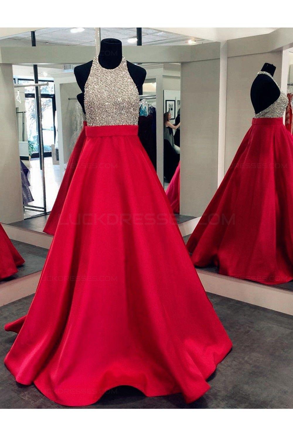 A Line Halter Sequins And Satin Long Red Prom Dresses