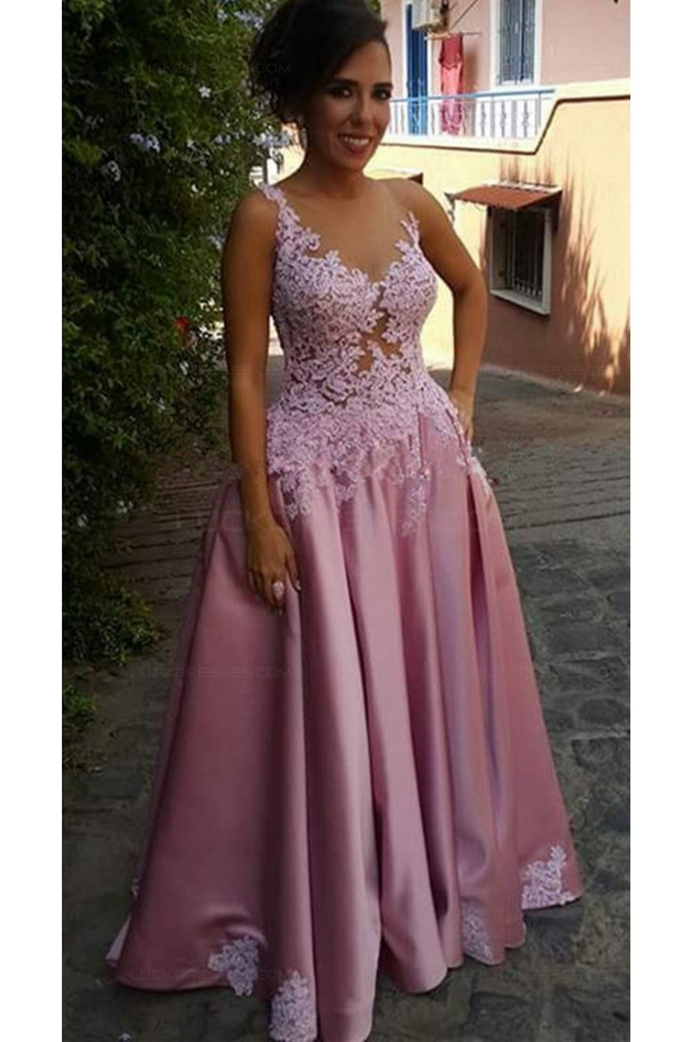 A-Line Illusion Neckline Lace and Satin Long Prom Dresses Party ...