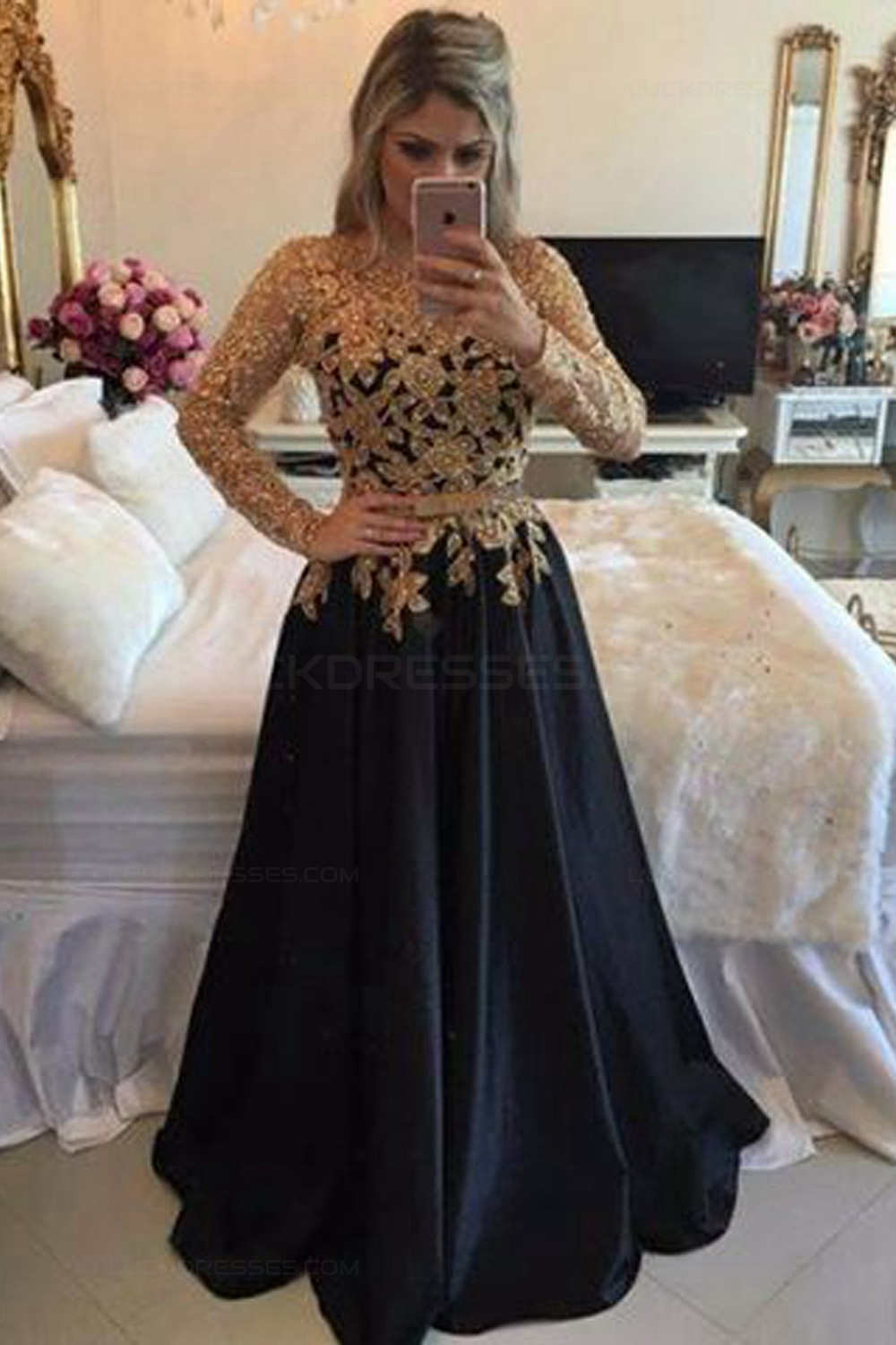 A-Line Gold Lace Appliques Long Sleeves Prom Dresses Party Evening ...