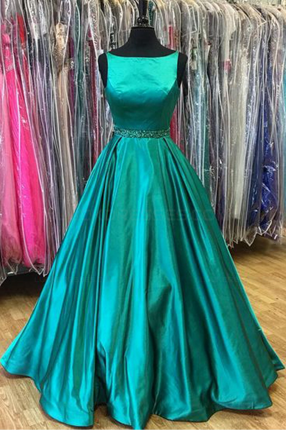 A-Line Long Green Beaded Long Prom Dresses Party Evening Gowns 3020342