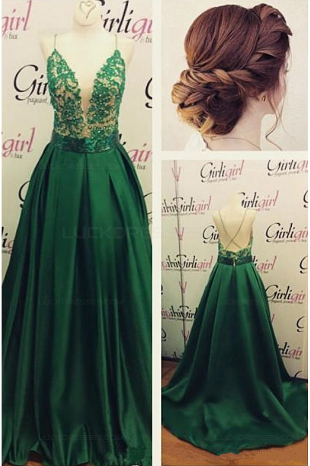 Long Green Spaghetti Straps Lace Satin Prom Dresses Party Evening ...