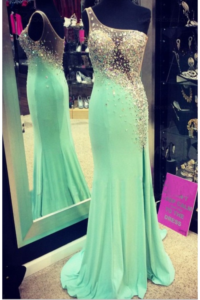 Mermaid One-Shoulder Beaded Long Prom Dresses Party Evening Gowns 3020357