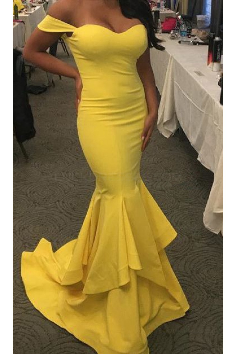 a8db9f675a9 Mermaid Long Yellow Off-the-Shoulder Prom Dresses Party Evening ...