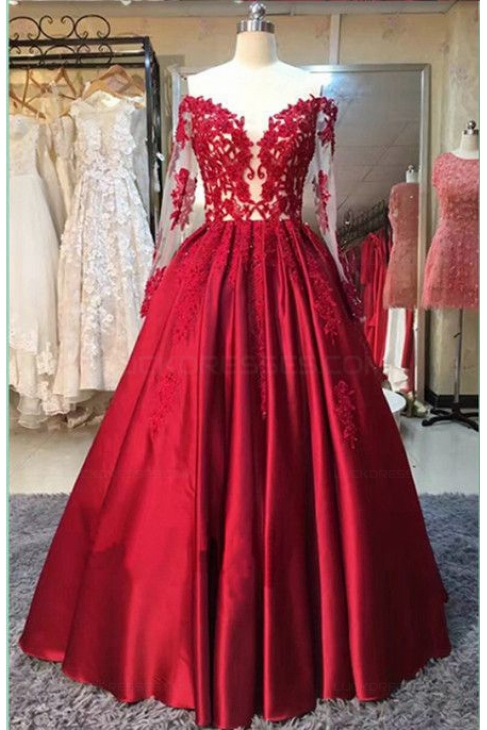 a0b974a8dda4 Long Sleeves Lace Satin Off-the-Shoulder Prom Dresses Party ...