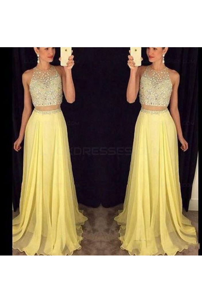 Beaded Two Pieces Yellow Prom Dresses Party Evening Gowns 3020363