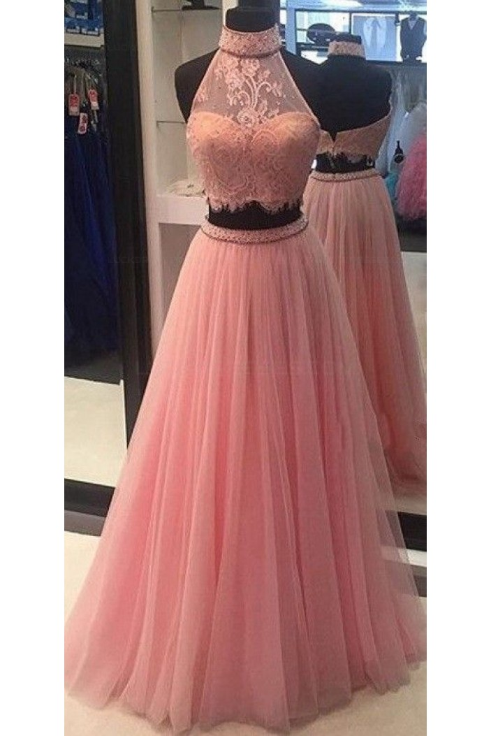 Halter Two Pieces Beaded Lace Prom Dresses Party Evening Gowns 3020367