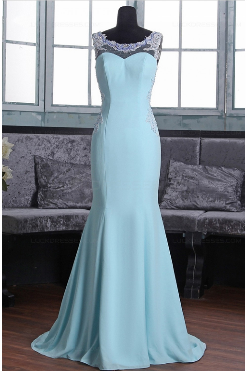 Mermaid Long Blue Beaded Lace Prom Dresses Party Evening