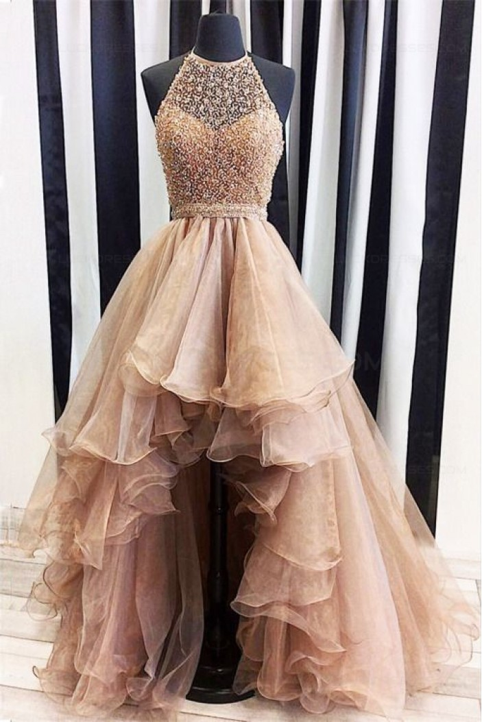 Beaded Halter High Low Prom Dresses Party Evening Gowns 3020382