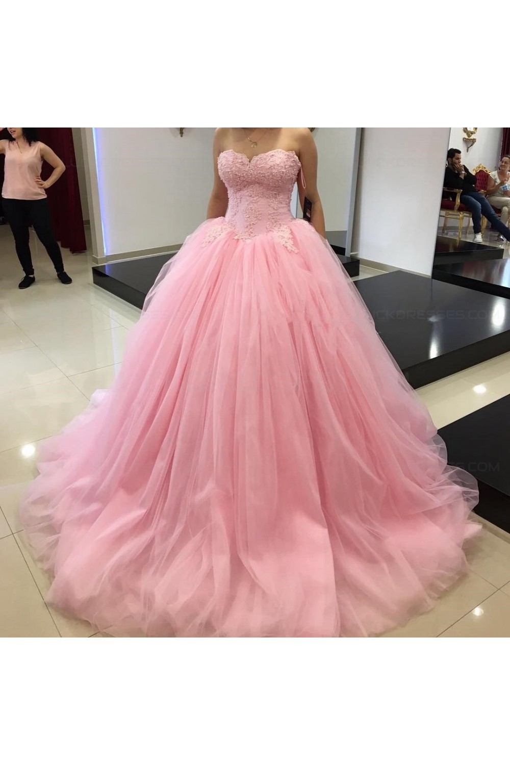 Ball Gown Sweetheart Pink Lace Tulle Prom Dresses Party